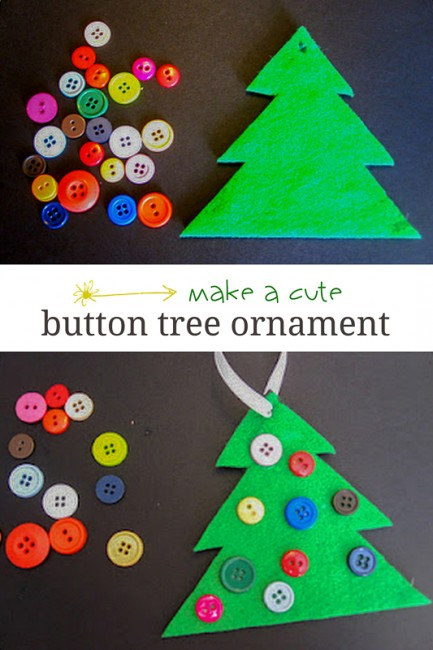 Button Christmas Tree Ornament : Cute & Simple