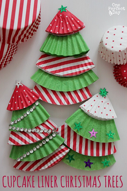 Christmas Decorations Craft Ideas Part - 40: Cupcake Liner Christmas Tree Ornaments