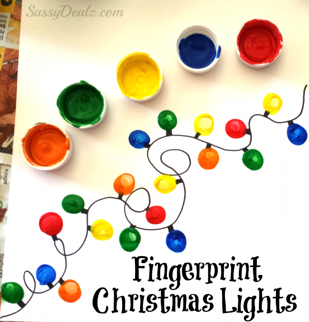 25 unique homemade christmas cards that you can make yourself this fingerprint christmas light craft for kids solutioingenieria Gallery