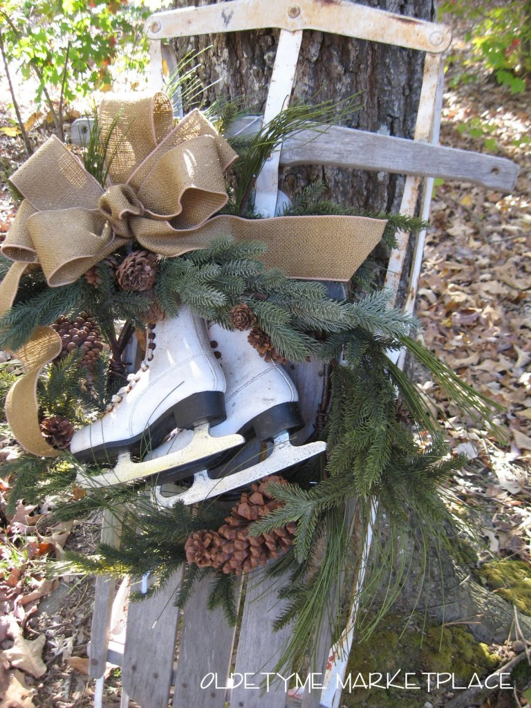 ice skate wreath and sled - Ice Skate Christmas Decoration