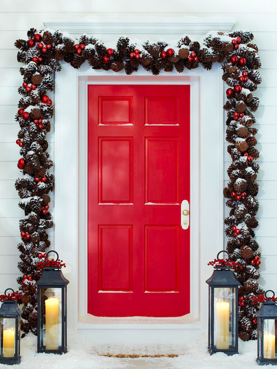 creating your own christmas outdoor decoration 1 stunning pinecone garland with ornaments - How To Decorate Your Door For Christmas