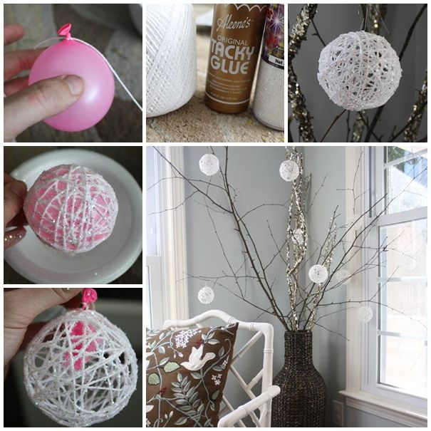 Top 9 simple and affordable diy christmas decorations cute diy 2 sparkly hanging baubles solutioingenieria Choice Image
