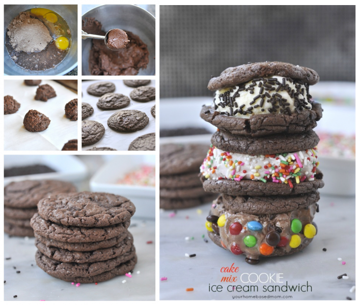 Cake mix cookie ice cream sandwiches