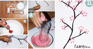 Cherry-Blossom-Art-from-Soda-Bottle-covers