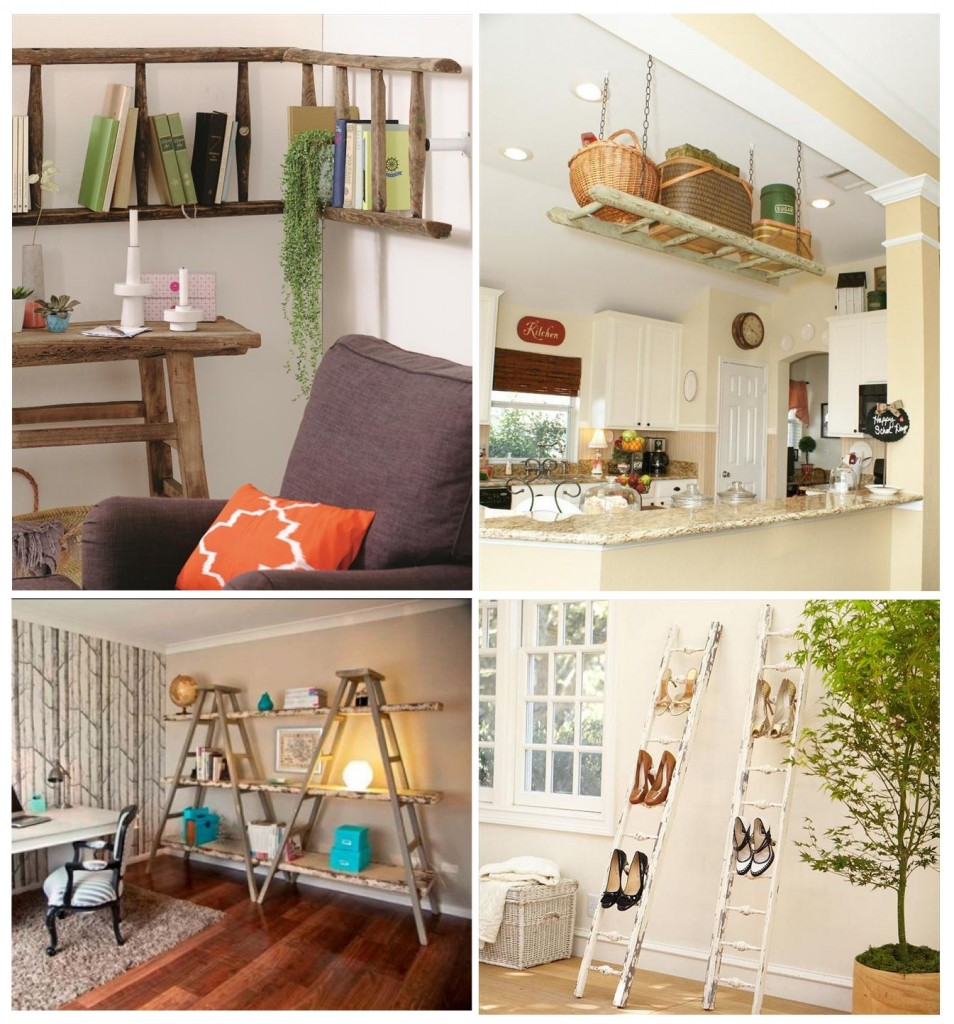 7. DIY Ladder Shelves