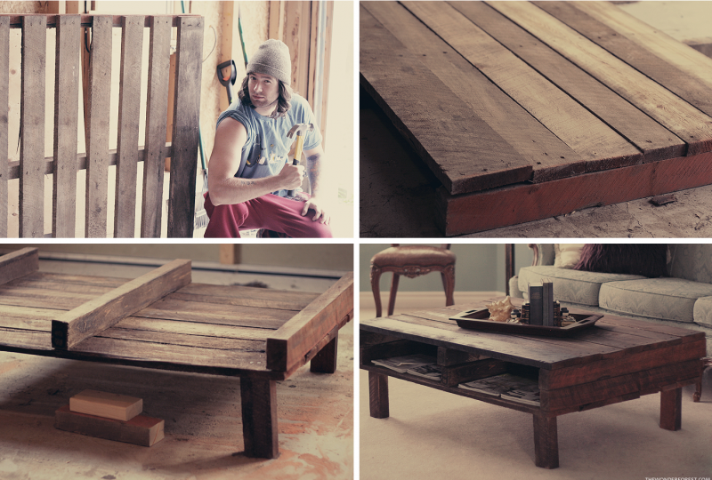 DIY Rustic Pallet Coffee Table Part 87