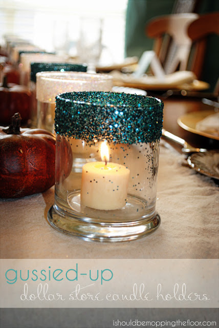 Gussied Up Dollar Store Candle Holders