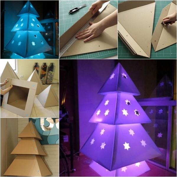 illuminated cardboard christmas tree - Homemade Christmas Tree