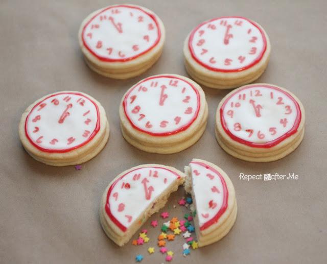 New Year's Confetti Clock Cookies