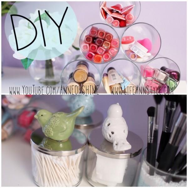 Simple Candle Jar Makeup Storage