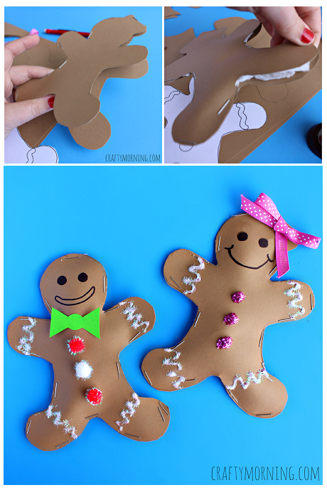 Stuffed Gingerbread Boy & Girl Craft for Kids