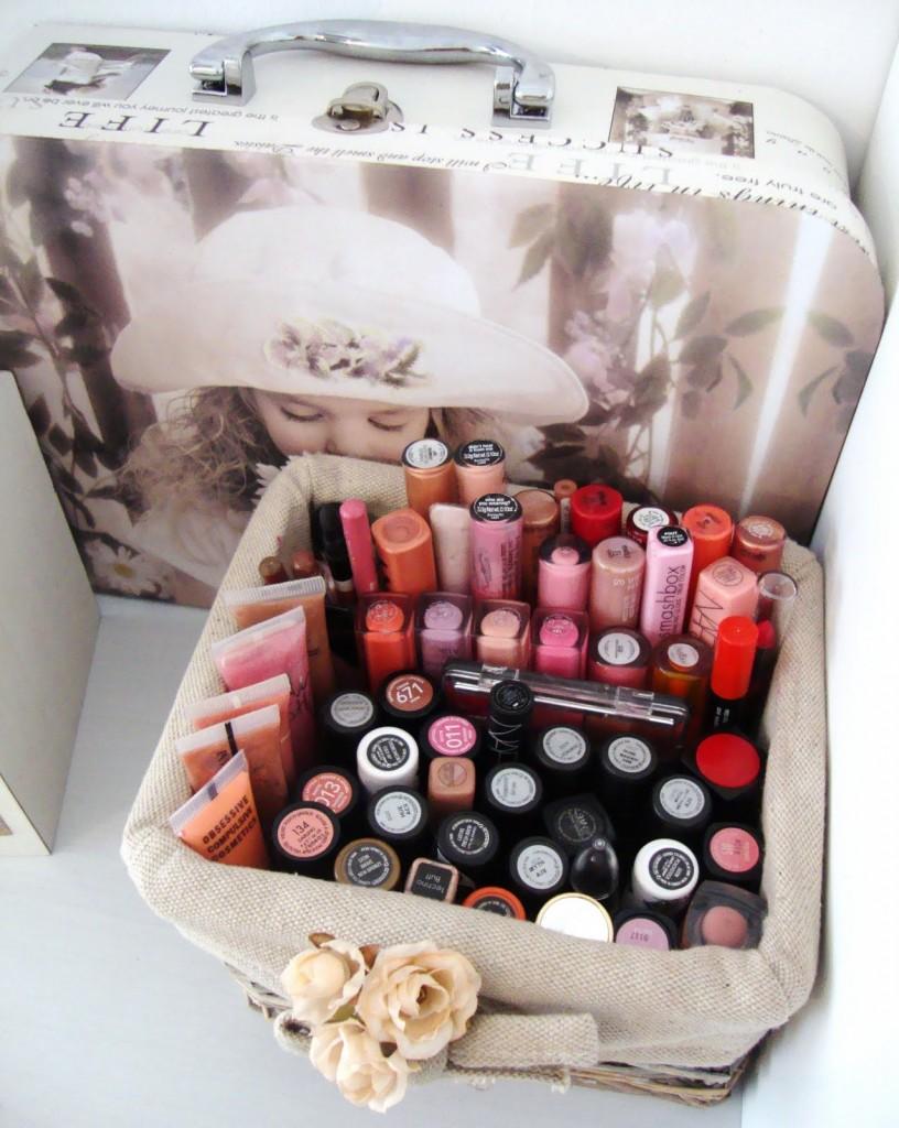 White Wood Makeup Storage
