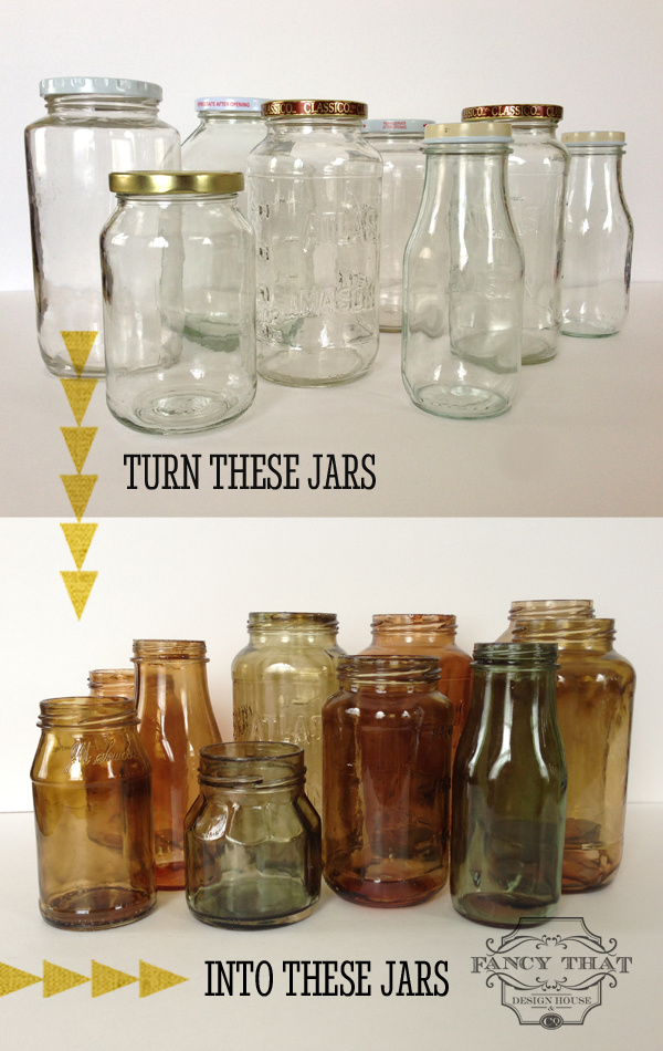15  Color Tinted Glass Jars. 25  Easy to Make DIY Vintage Decor Ideas   Page 2 of 2   Cute DIY