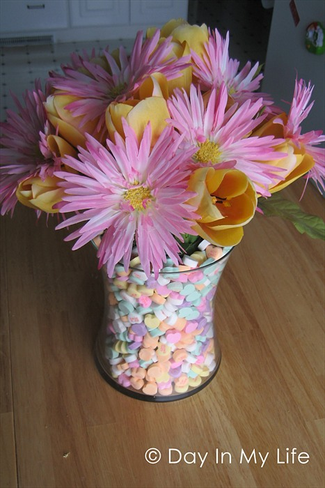 DIY Candy Heart Centerpiece