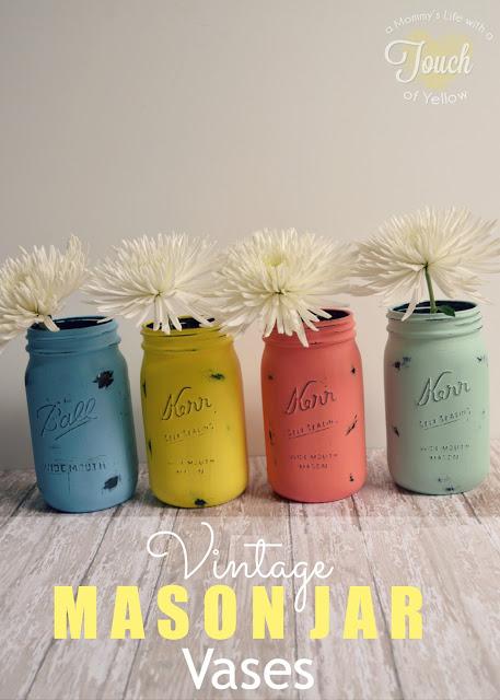 DIY Vintage Mason Jar Vases