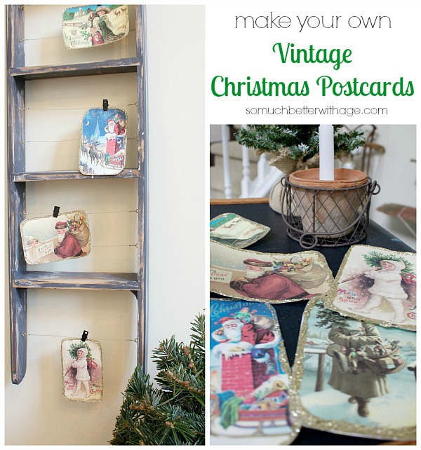 DIY vintage Christmas Postcards25  Easy to Make DIY Vintage Decor Ideas   Cute DIY Projects. Diy Vintage Home Decor. Home Design Ideas