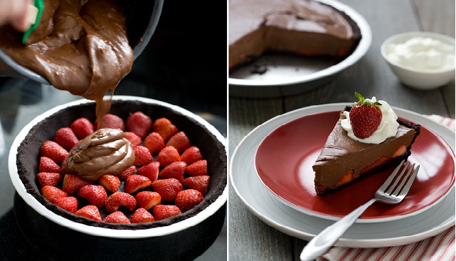 No Bake Chocolate Strawberry Pie