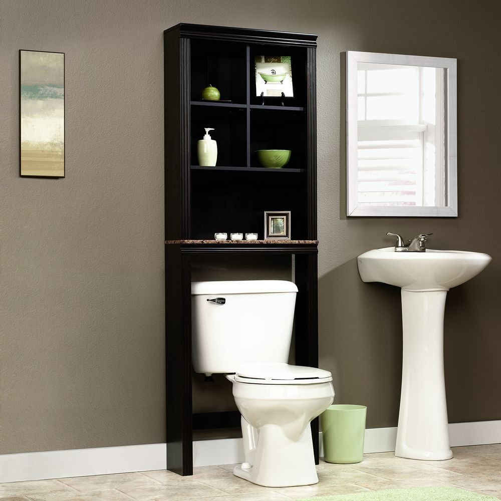 Bathroom cabinet storage solutions - Sauder Peppercorn Etagere Bath Cabinet