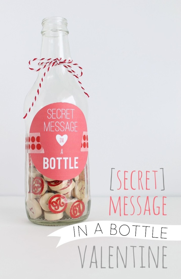 Secret Message in Bottle Valentine