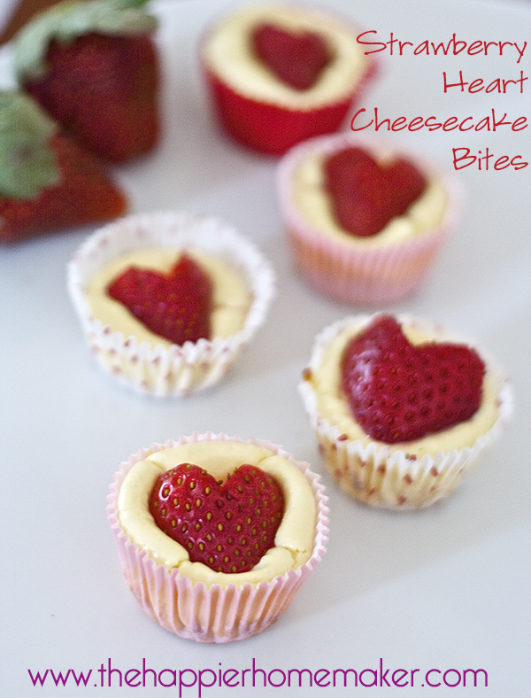 16. Strawberry Heart Mini Cheesecake Bites