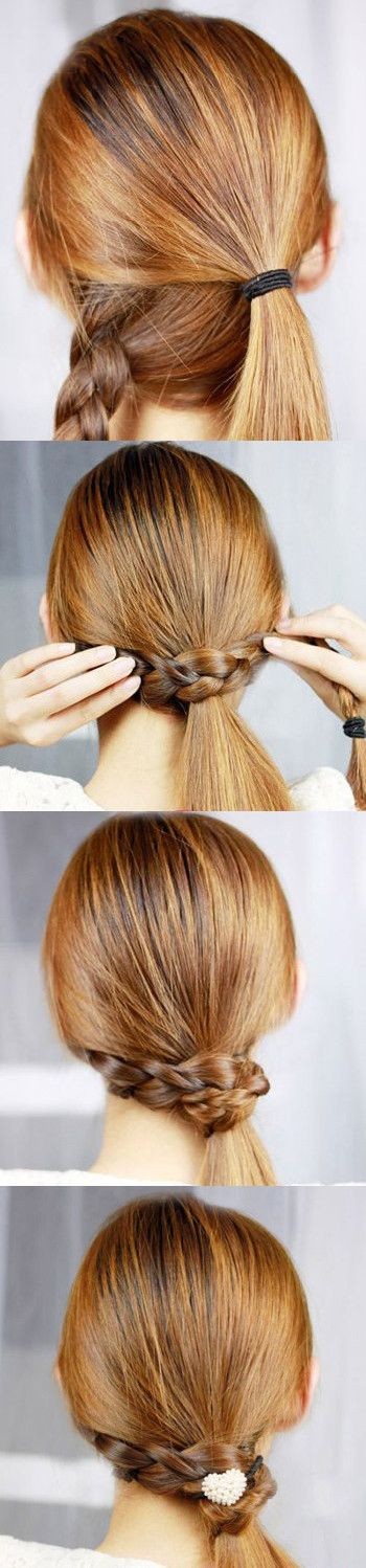 Classy to cute 25 easy hairstyles for long hair for 2017 the braid wrapped ponytail solutioingenieria