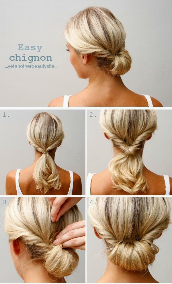 Cute Easy Hairstyles For Long Hair 10 easy hairstyles you can do in 10 seconds diy hairstyles The Easy Chignon