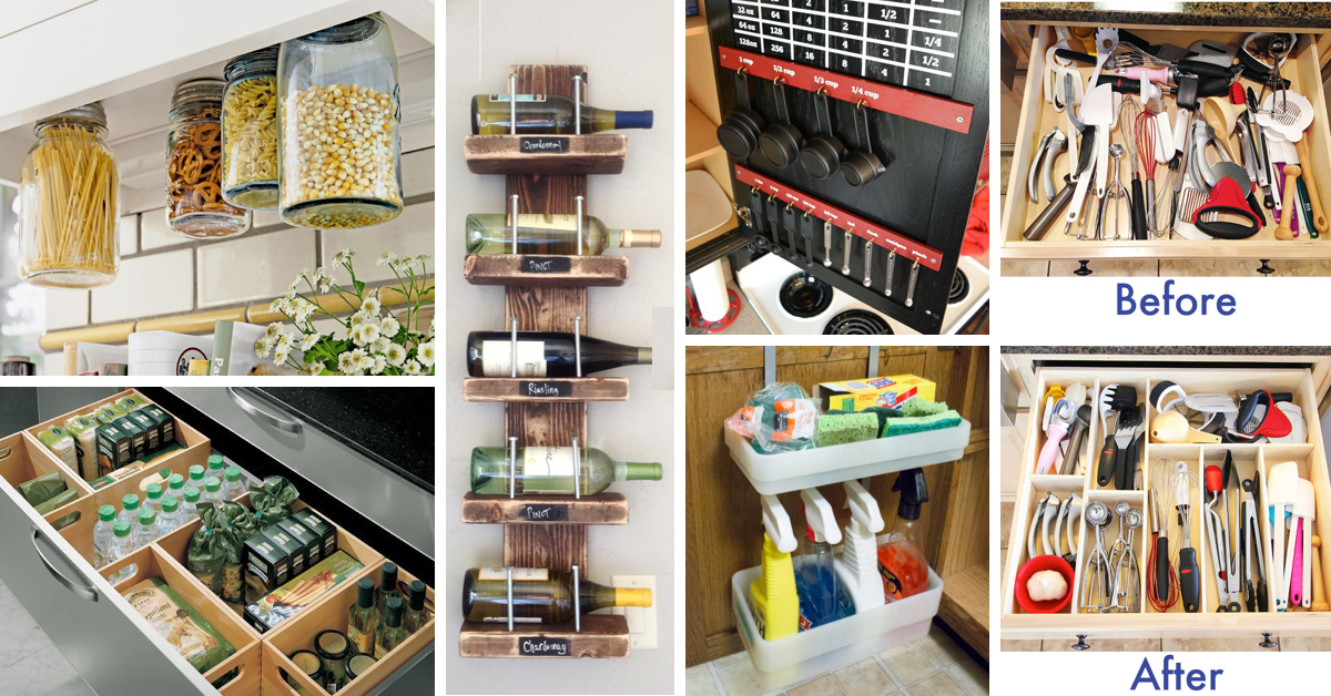 45 small kitchen organization and diy storage ideas Cool household hacks