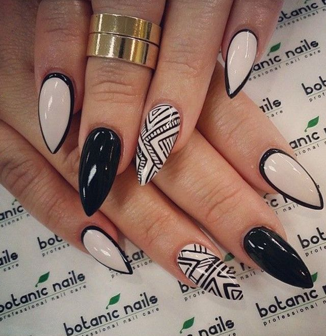 Almond Shaped White and Black Acrylic Nail - 30+ Awesome Acrylic Nail Designs You'll Want In 2016