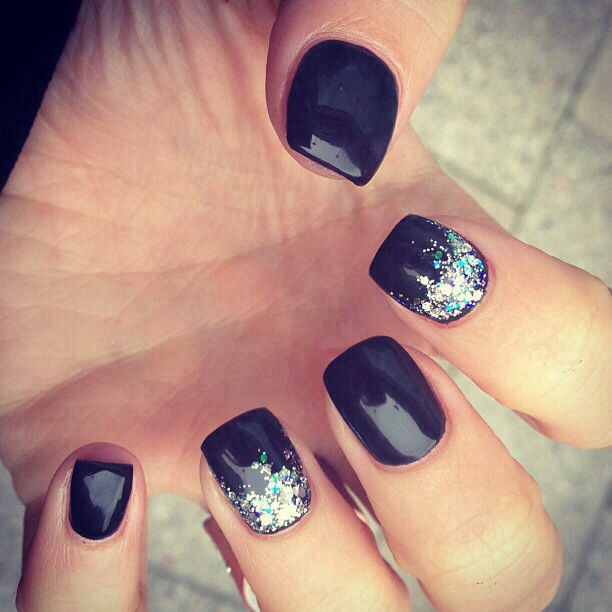 7 Black With Multicolored Glitter