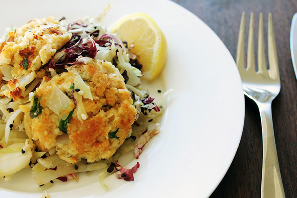 Chickpea Cakes With Cabbage Salad