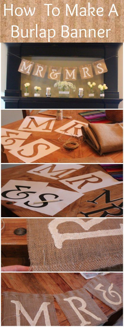 DIY Mr And Mrs Burlap Banner