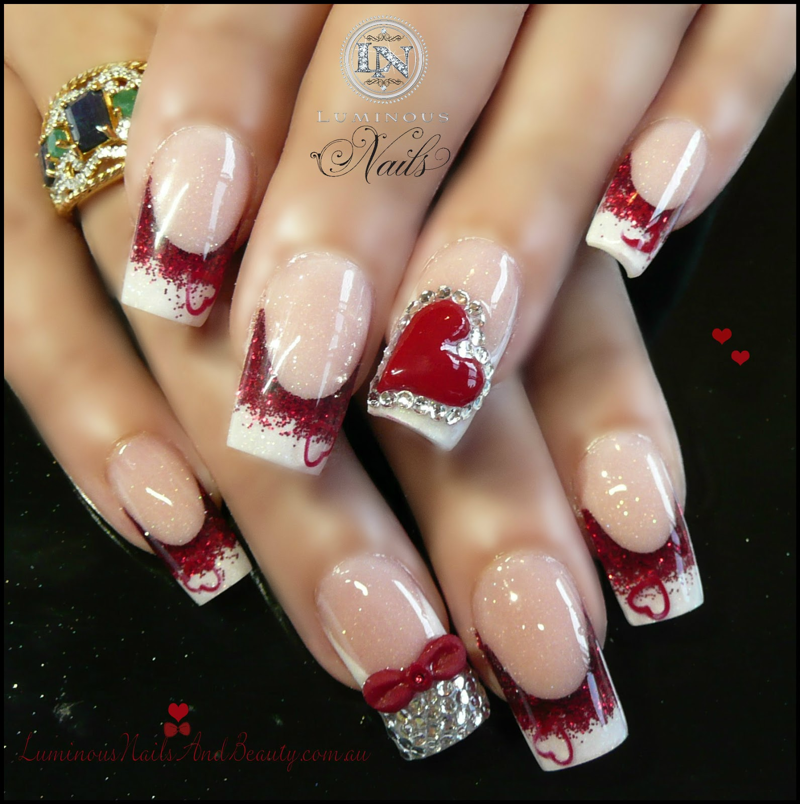 French Manicured Valentine's Day Design - 30+ Awesome Acrylic Nail Designs You'll Want In 2016