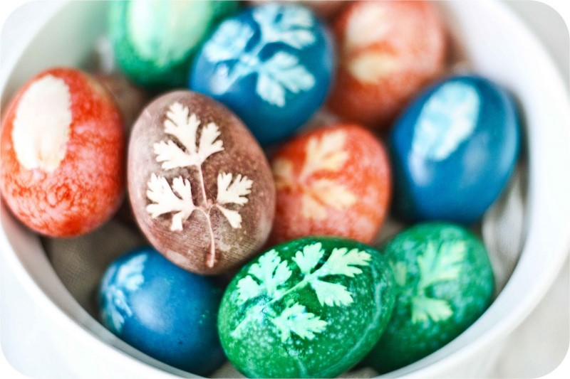 Herb Stenciled Easter Eggs