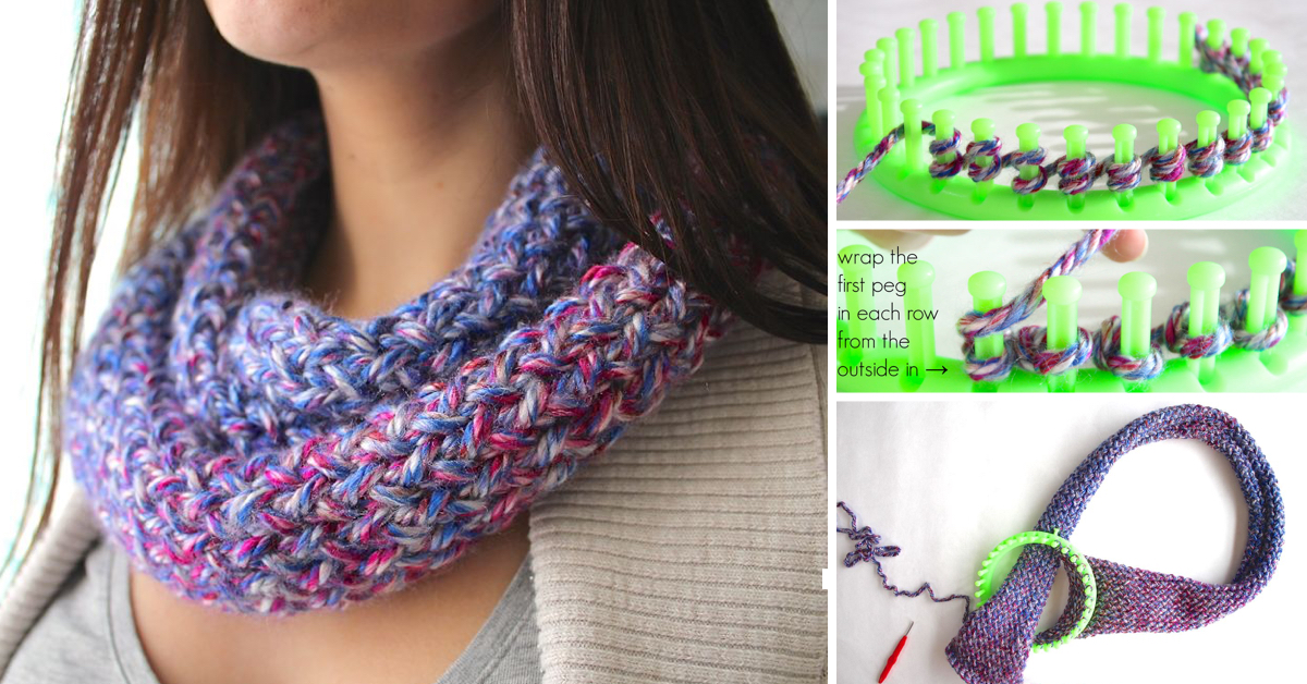 Infinity Scarf Pattern On Knitting Loom : How To Knit An Infinity Scarf On A Loom   Cute DIY Projects