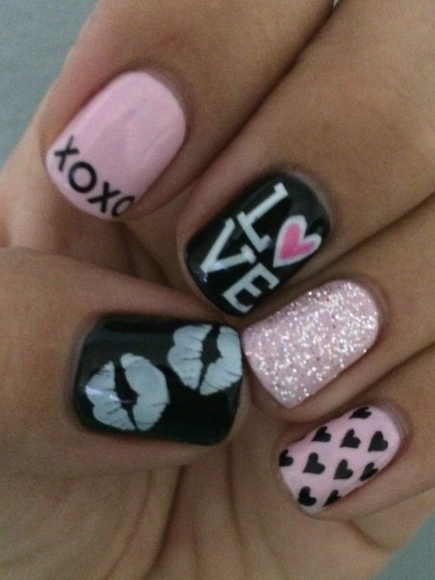 30 awesome acrylic nail designs youll want in 2016 9 pink red glittery heart solutioingenieria Choice Image