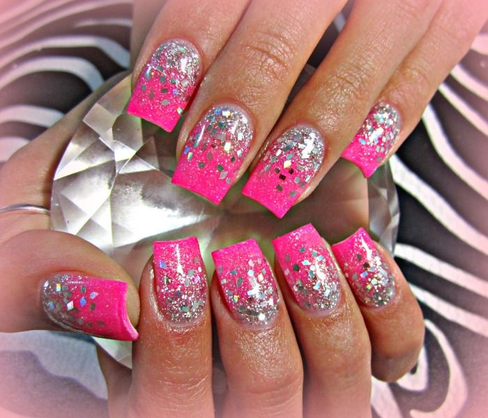 8. Pink with Silver Showers - 30+ Awesome Acrylic Nail Designs You'll Want In 2016