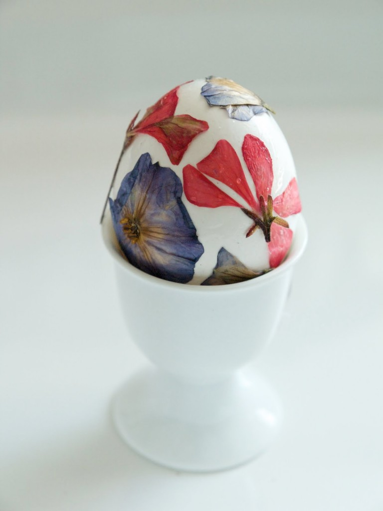 Pressed Flowers Egg Decorating