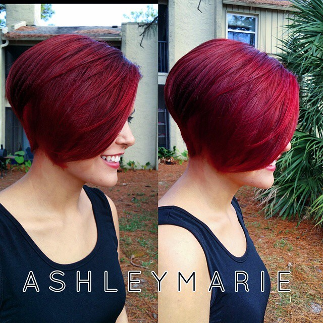 Red Short Bob Haircut