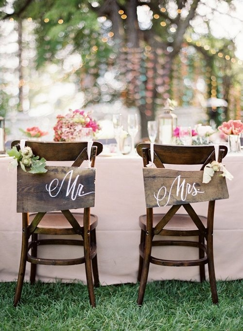 Rustic Wedding Chair Signs