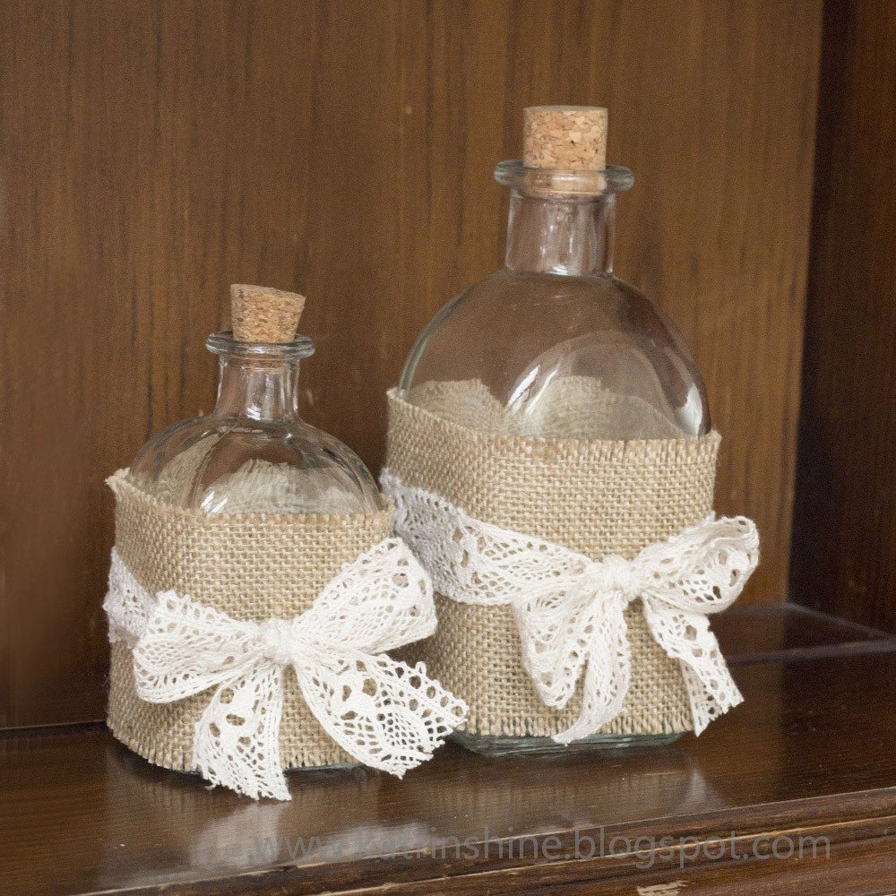 Diy shabby chic home decor - Shabby Chic Bottle Decoration