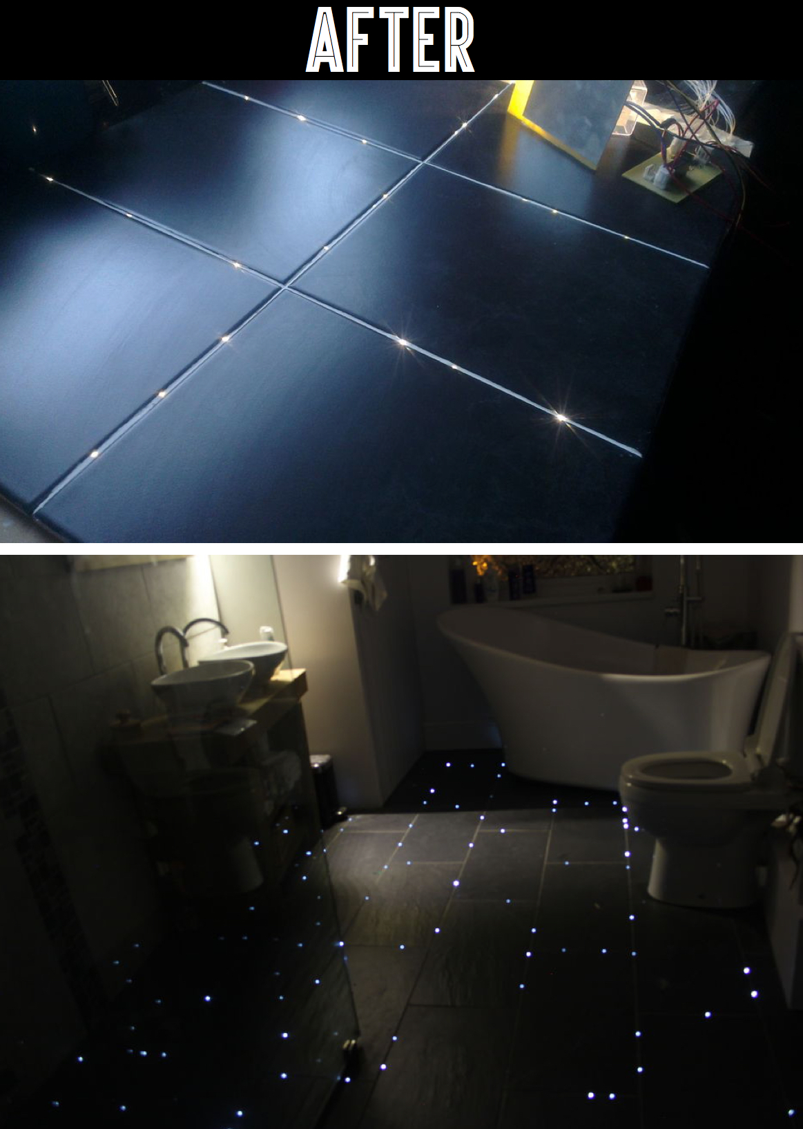 This Guy Transformed His Bathroom Floor Into a Starry Night Sky