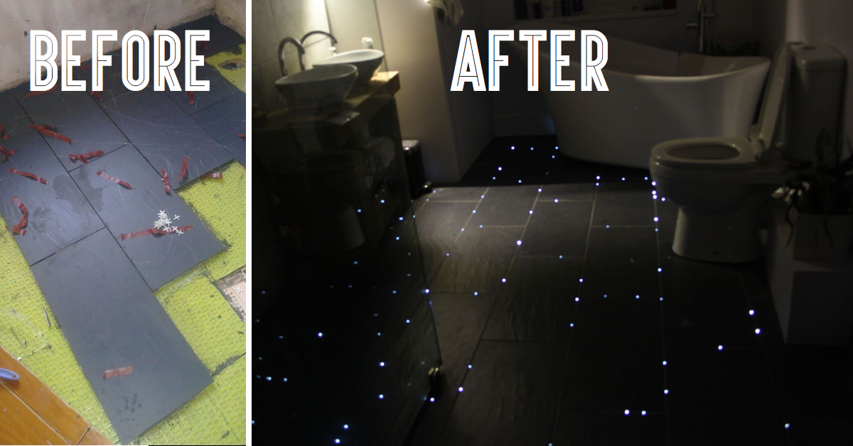 This guy transformed his bathroom floor into a starry for Bathroom floor mural sky