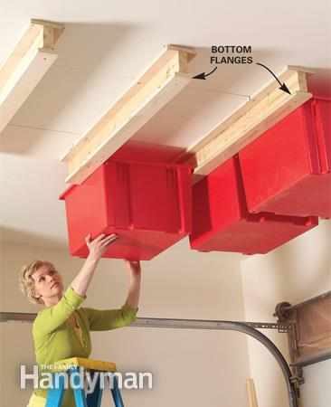 Create A Sliding Storage System On The Ceiling Of Your Garage