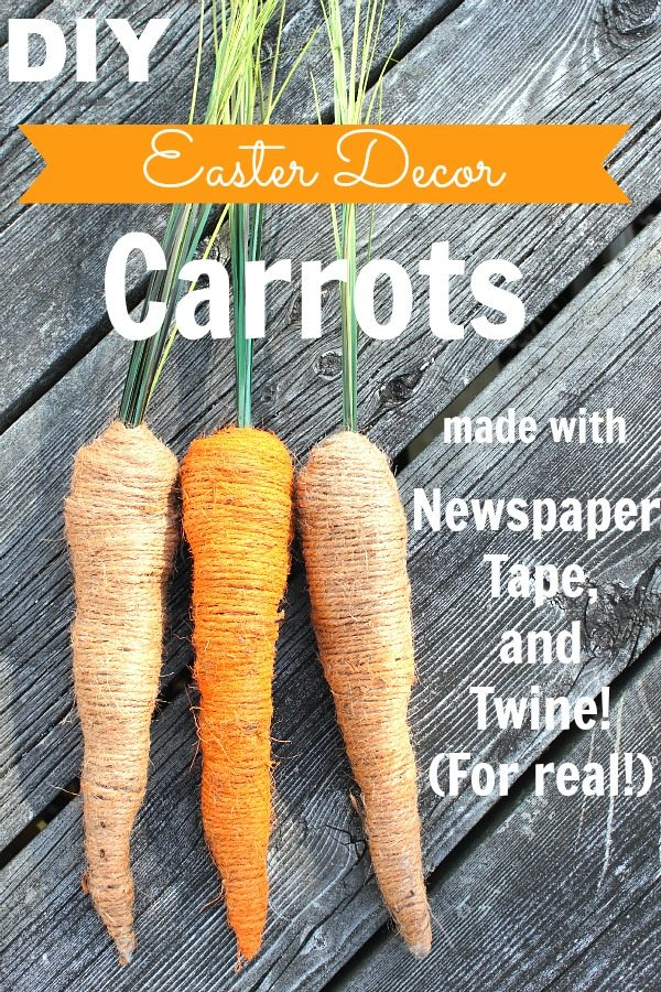 DIY Easter Decor Carrots made with Newspaper and Tape