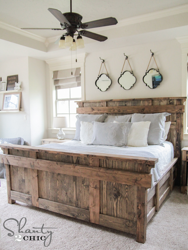 Reclaimed wood king headboard - just slightly adapted from: http://ana-
