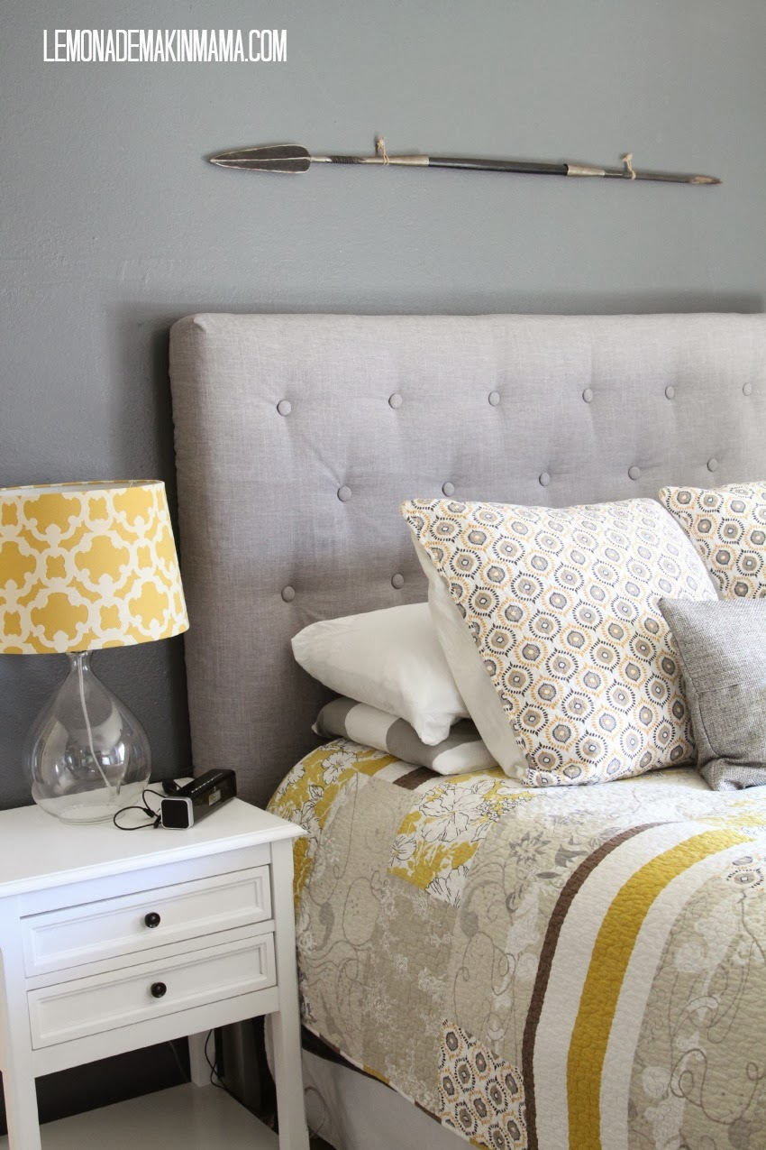 lovely buttoned fabric based headboard - Make A Headboard For Your Bed