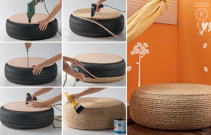 Old Tire Turned Into Rope Ottoman Chair