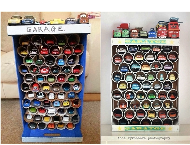Paper Roll Toy Car Storage