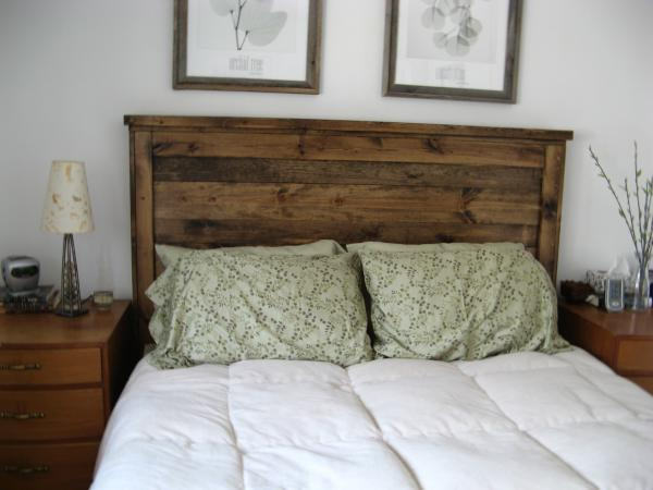 reclaimed wood headboard idea - Diy Backboard Bed