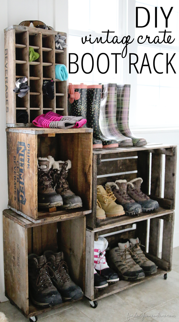 Vintage Crate Boot Rack